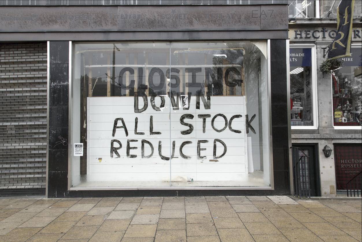 Closed Down Town centre Shop